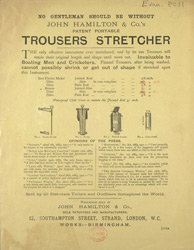 Advert For John Hamilton & Co's Trouser Press